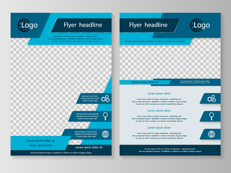 magazine page: Vector flyer template design with front page and back page. Business brochure or cover