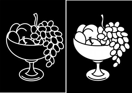 picture fruit in a vase  Illustration
