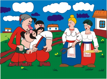 Three Ukrainian men and two women Illustration