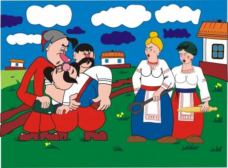 Three Ukrainian men and two women Illustration
