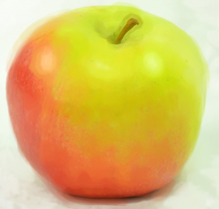 Coloured picture of apple Stock Photo