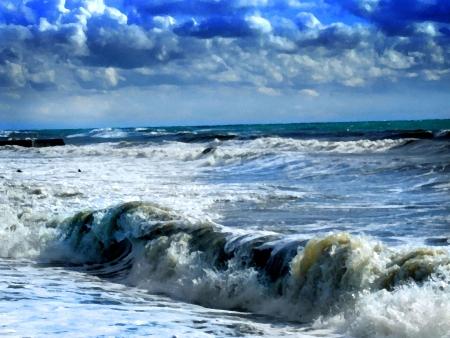 Coloured picture of sea