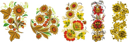 Five compositions of flowers Illustration