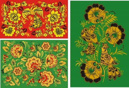 Three decorative patterns Illustration