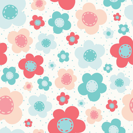 Vector Bright Colorful Flowers Seamless Pattern Background.