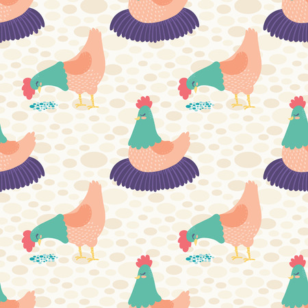 Vector Bright Cream Hens Seamless Pattern Background.