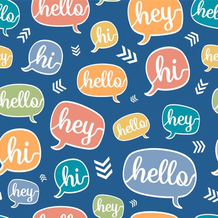 Vector Colorful Hello Speech Bubble Seamless Pattern