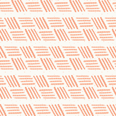 Peach Pink Basket weave Stripes Seamless Pattern.