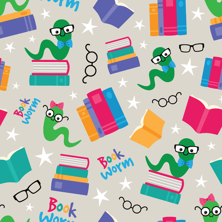 Vector Book Worms Seamless Pattern