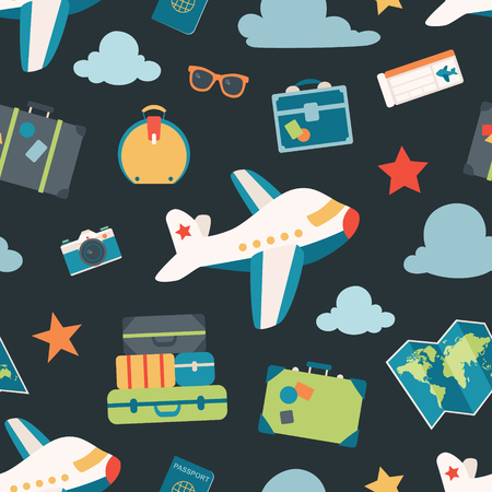 Vector Air Travel Navy Seamless Pattern Background. Surface pattern design perfect for fabric, accessories, home decor, and scrapbooking. Illustration