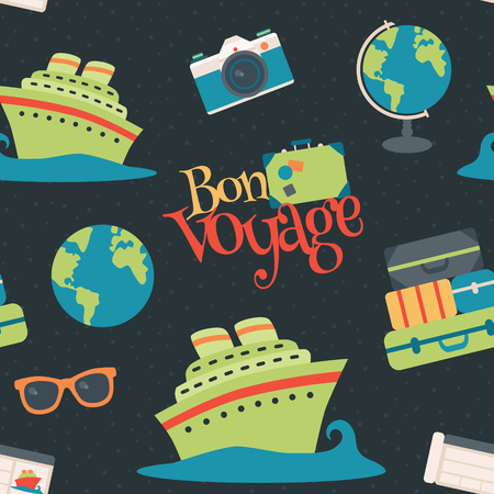 Vector Bon Voyage Cruise Travel Navy Seamless Pattern Background. Surface pattern design perfect for fabric, accessories, home decor, and scrapbooking.