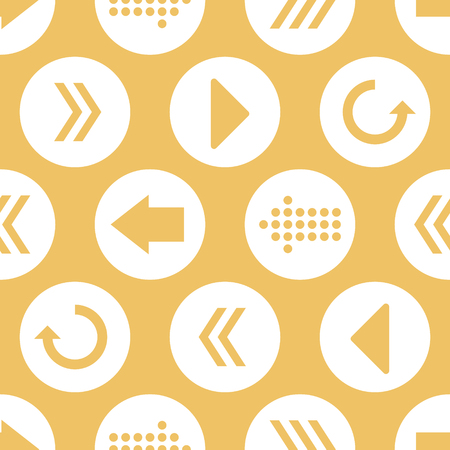 Vector Yellow White Arrow Circles Seamless Pattern Background  イラスト・ベクター素材