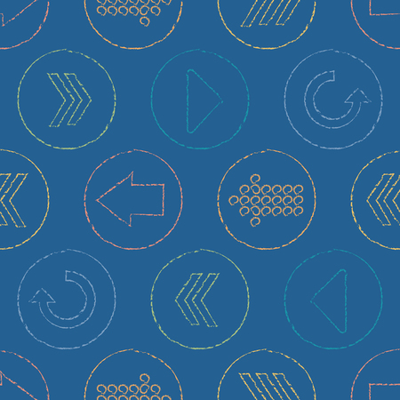 Vector Sketchy Arrow Circles Seamless Pattern Background  イラスト・ベクター素材