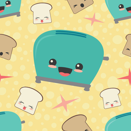 Vector Happy Toaster Toast Seamless Pattern Background