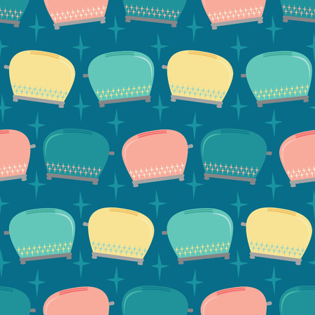 Vector Vintage Toaster Seamless Pattern Background  イラスト・ベクター素材