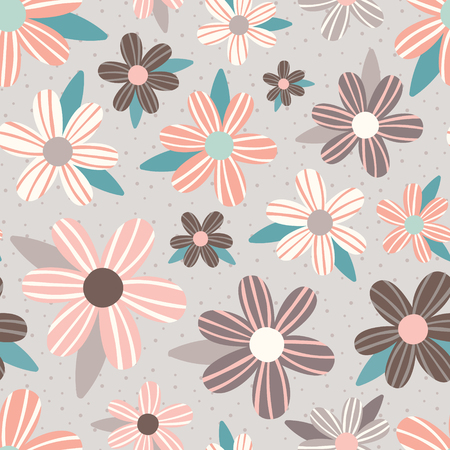 Vector Pink Taupe Flowers Seamless Pattern Background  イラスト・ベクター素材