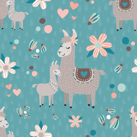 Teal mama llama seamless pattern background Иллюстрация