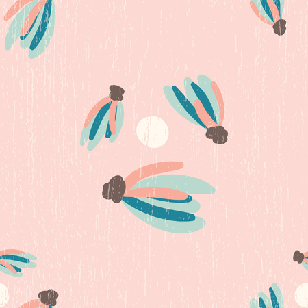 Vector Pink Distressed Tassels Seamless Pattern Background