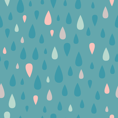 Vector Teal Teardrop Raindrop Seamless Pattern Background  イラスト・ベクター素材
