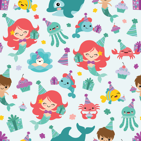 Vector Mermaid Birthday Sea Friends Seamless Pattern Background. Perfect for fabric, scrapbooking, kids, stationary, and home decor projects.