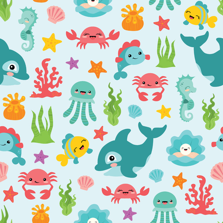 Vector Cute Sea Animals Seamless Pattern Background Banco de Imagens
