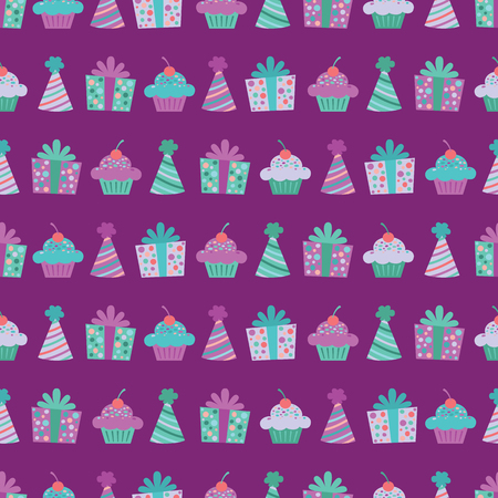 Vector Purple Birthday Items Seamless Pattern Background. Perfect for fabric, scrapbooking, kids, stationary, and home decor projects. Ilustração