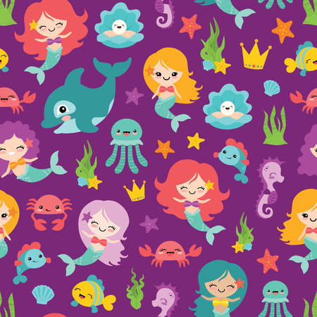 Vector urple Mermaids and Friends Seamless Pattern Background. Perfect for fabric, scrapbooking, kids, stationary, and home decor projects. 일러스트