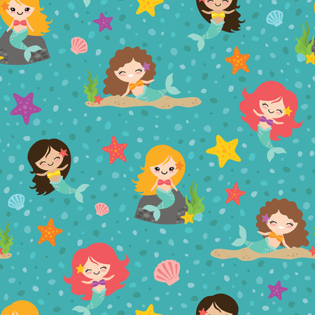 Vector Teal Mermaid Girls Seamless Pattern Background. Perfect for fabric, scrapbooking, kids, stationary, and home decor projects.