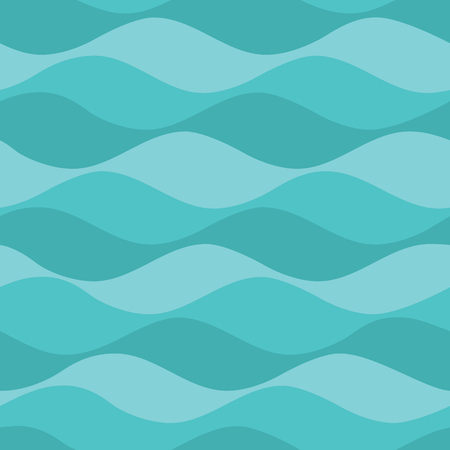 Vector Teal Waves Seamless Pattern Background. Perfect for fabric, scrapbooking, kids, stationary, and home decor projects. Ilustração