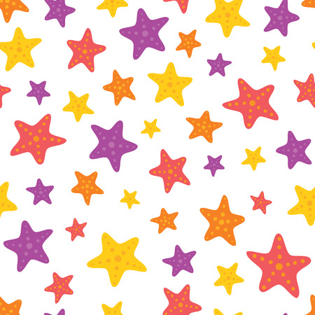 Vector Colorful Starfish on White Seamless Pattern Background. Perfect for fabric, scrapbooking, kids, stationary, and home decor projects. Ilustração