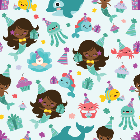 Vector People of Color Mermaid Birthday Sea Friends Seamless Pattern Background. Perfect for fabric, scrapbooking, kids, stationary, and home decor projects.