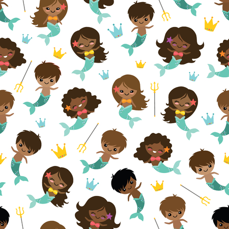Vector People of Color Mermaid and Mermen Seamless Pattern Background. Perfect for fabric, scrapbooking, kids, stationary, and home decor projects.