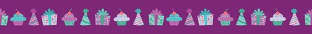 Vector Purple Birthday Items Seamless Border. Perfect for fabric, scrapbooking, kids, stationary, and home decor projects. Ilustração