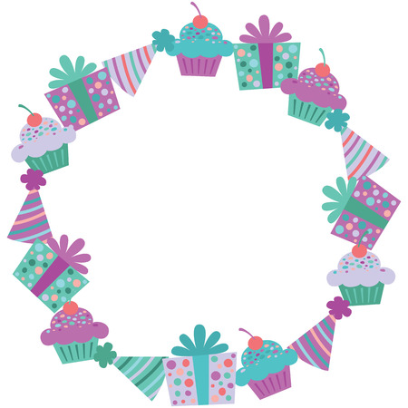 Vector Purple Birthday Items Wreath. Perfect for fabric, scrapbooking, kids, stationary, and home decor projects.