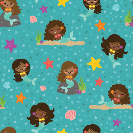 Vector Teal People of Color Mermaid Girls Seamless Pattern Background. Perfect for fabric, scrapbooking, kids, stationary, and home decor projects. Ilustração