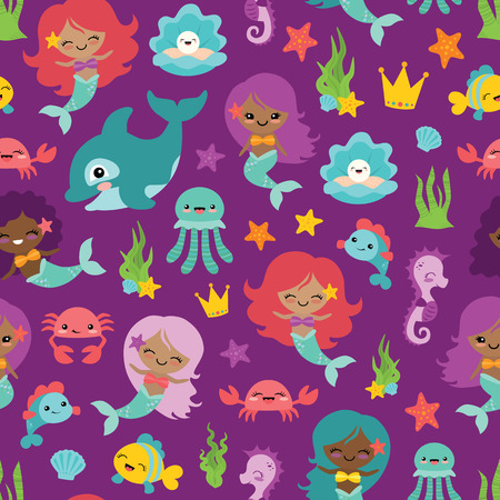 Vector Purple People of Color Mermaids and Friends Seamless Pattern Background. Perfect for fabric, scrapbooking, kids, stationary, and home decor projects.