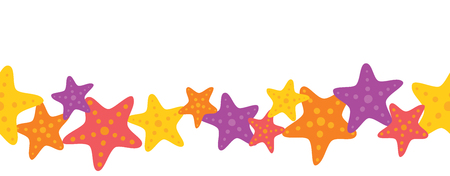 Vector Colorful Starfish Seamless Border. Perfect for scrapbooking, kids, stationary, and home decor projects.