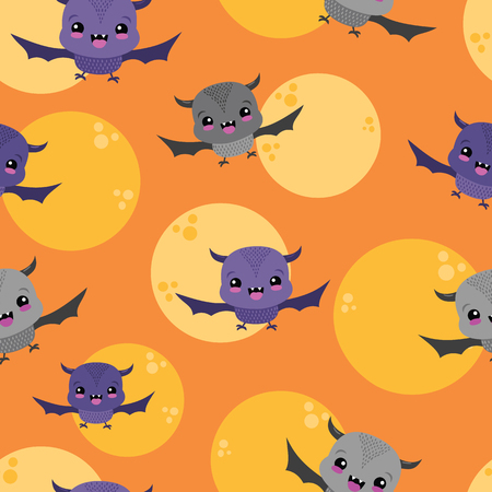 Vector Bats Moons Orange Sky Seamless Pattern. Surface Pattern Design perfect for fabric, scrapbooking, Halloween, kids, and home decor projects. Ilustração