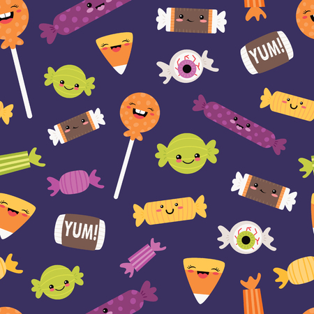 Vector Happy Halloween Candies Seamless Pattern. Surface Pattern Design perfect for fabric, scrapbooking, Halloween, kids, and home decor projects.