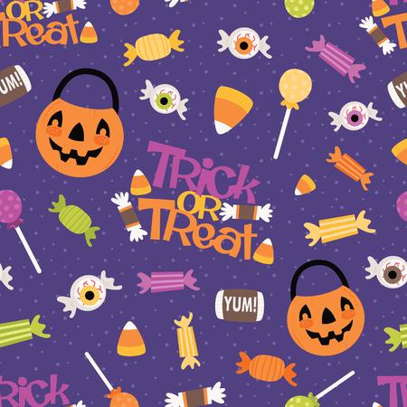 Vector Trick or Treat Candy de patrones sin fisuras. Diseño de patrón de superficie perfecto para telas, álbumes de recortes, Halloween, niños y proyectos de decoración del hogar. Ilustración de vector