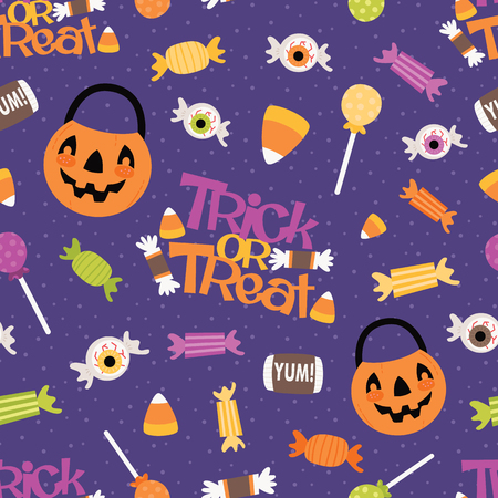 Vector Trick or Treat Candy Seamless Pattern. Surface Pattern Design perfect for fabric, scrapbooking, Halloween, kids, and home decor projects. Vettoriali
