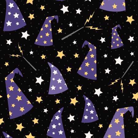 Vector Starry Wizard Hats Seamless Pattern. Surface Pattern Design perfect for fabric, scrapbooking, Halloween, kids, and home decor projects. Ilustração