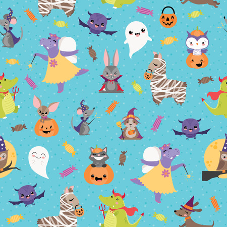 Vector Blue Halloween Friends Seamless Pattern. Surface Pattern Design perfect for fabric, scrapbooking, Halloween, kids, and home decor projects.