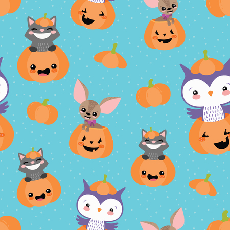 Vector Blue Pumpkin Friends Seamless Pattern. Surface Pattern Design perfect for fabric, scrapbooking, Halloween, kids, and home decor projects.