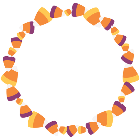Vector Scattered Sweet Candy Corn Circle Wreath. Perfect for scrapbooking, kids, stationery, Halloween, and home decor projects.