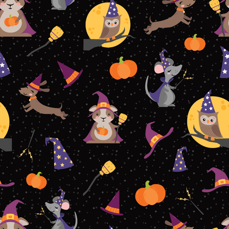 Vector Wizard Witch Friends Seamless Pattern. Surface Pattern Design perfect for fabric, scrapbooking, Halloween, kids, and home decor projects. Illustration