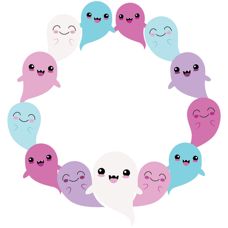 Vector Blue Purple Ghost Friends Circle Wreath. Perfect for scrapbooking, kids, stationery, Halloween, and home decor projects.