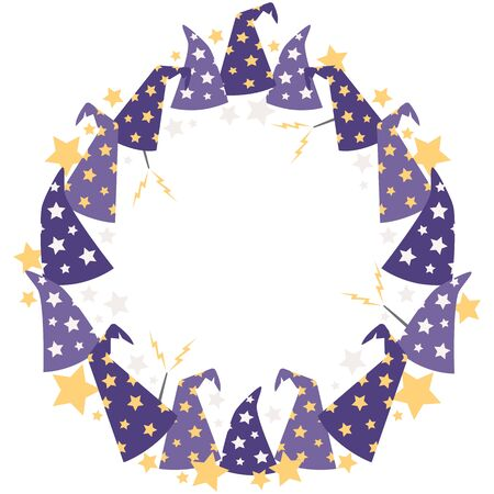 Vector Magical Starry Wizard Hats Circle Wreath
