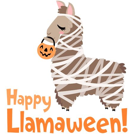 Vector Happy Halloween Llama Mummy Costume Illustration