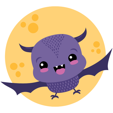 Vector Cute Purple Bat and Moon Halloween Illustration. Perfect for scrapbooking, kids, stationary, Halloween, clothing, accessories, and home decor projects.